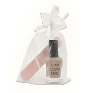 Full size Nail Polish with mini nail file in Organza Bag (.33 fl. Oz. Bottle)